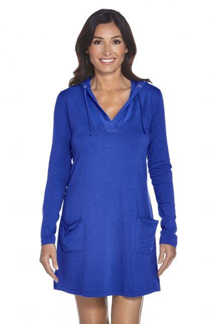 Coolibar---UV-jurk-voor-dames-met-capuchon---Kobalt-blauw