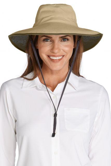 Coolibar---UV-beschermende-strandhoed-dames---khaki