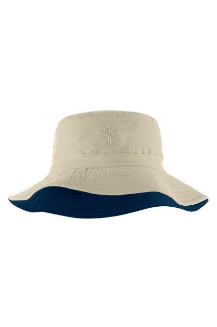 Coolibar---Omkeerbare-UV-Bucket-Hoed-voor-kinderen---Landon---Steen/Navy