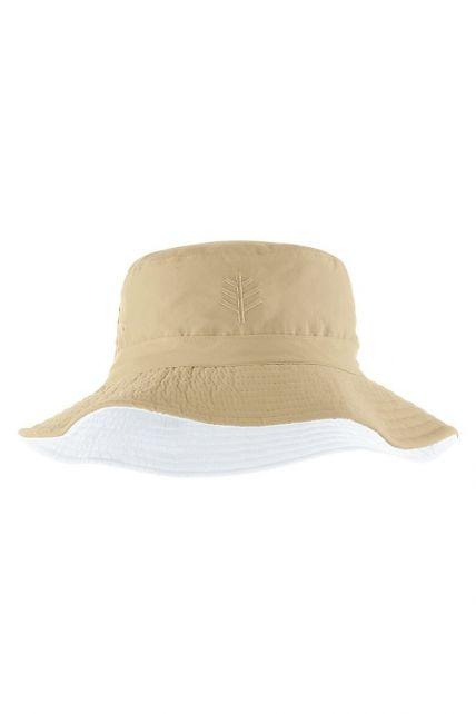 Coolibar---Omkeerbare-UV-Bucket-Hoed-voor-kinderen---Landon---Beige/Wit
