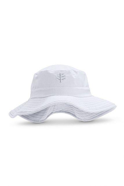 Coolibar---UV-Bucket-Hoed-met-brede-rand-voor-kinderen---Surfs-Up---Wit