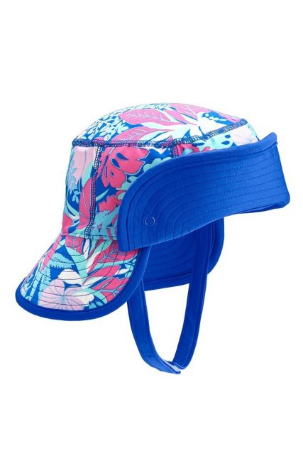 Coolibar---UV-bucket-hoed-baby's---Opvouwbare-rand---Tropisch-blauw