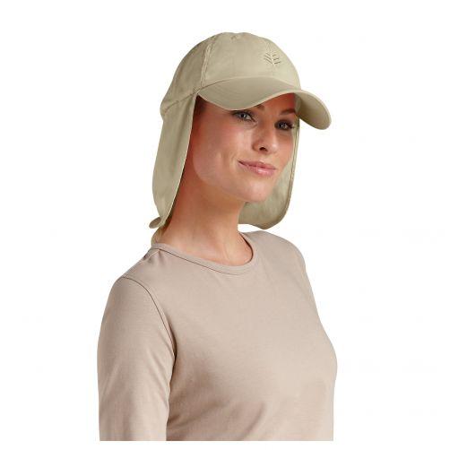 Coolibar---UV-zonnepet-met-nekflap-unisex---Geelbruin