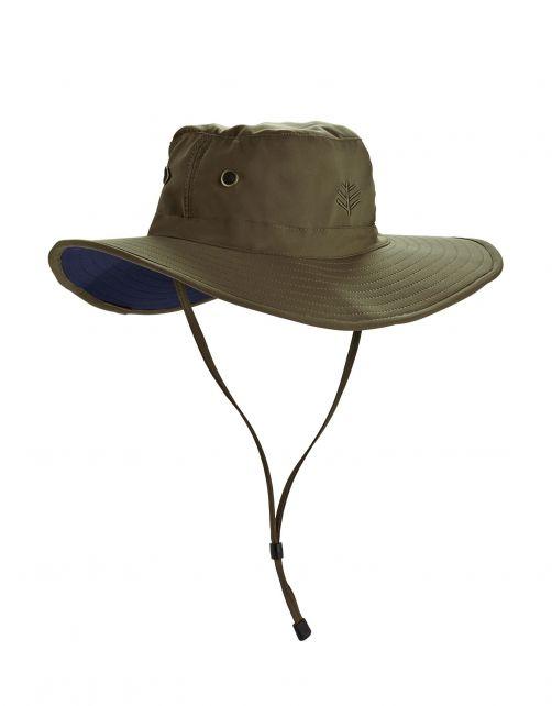 Coolibar---Modelleerbare-UV-Hoed-met-brede-rand-voor-heren---Leo---Khaki/Navy