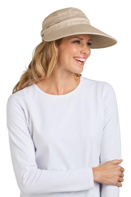 Coolibar---UV-beschermende-zonneklep-en-pet-in-één-dames---Beige