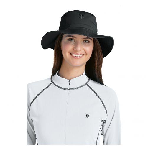 Coolibar---UV-bucket-hoed-unisex---Zwart