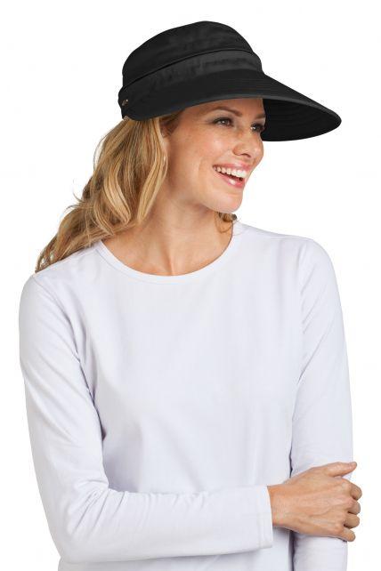 Coolibar---UV-beschermende-zonneklep-en-pet-in-één-dames---Zwart