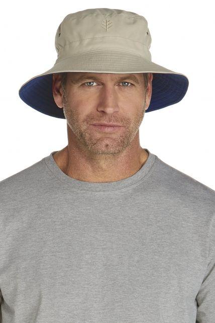 Coolibar---UV-omkeerbare-hoed-voor-heren---Beige-/-Donkerblauw