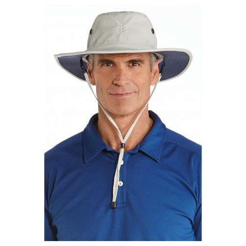 Coolibar---UV-zonnehoed-voor-heren---Beige-/-Navy-blauw