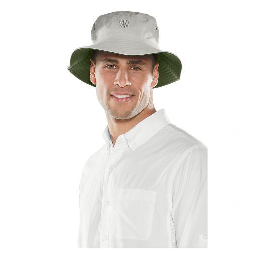 Coolibar---UV-hoed-voor-heren---Twee-kleurig:-steen-en-olijfgroen