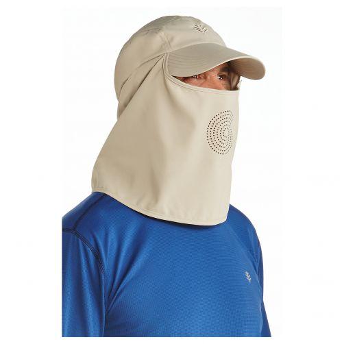 Coolibar---UV-Sportcap-met-nek--en-gezichtsbedekking-voor-heren---Logan---Beige