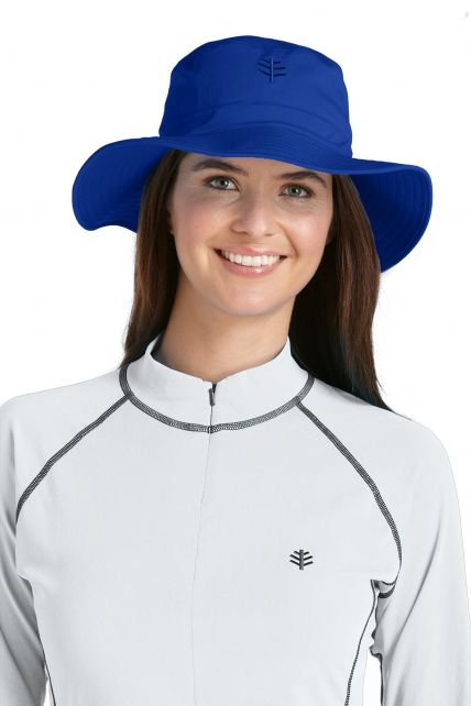 Coolibar---UV-bucket-hoed-unisex---Kobalt-blauw