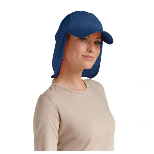 Coolibar---UV-zonnepet-met-nekflap-unisex---Navy-blauw