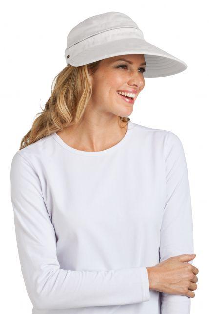 Coolibar---UV-beschermende-zonneklep-en-pet-in-één-dames---Wit