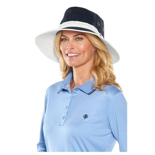 Coolibar---UV-hoed-voor-dames-&-heren---Twee-kleurig:-donkerblauw-en-wit
