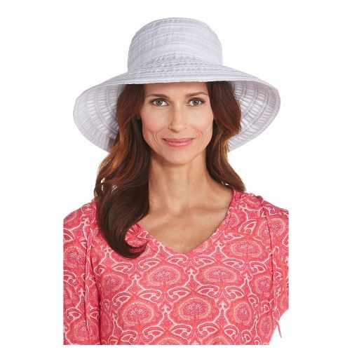 Coolibar---UV-flaphoed-voor-dames-met-lint---Wit