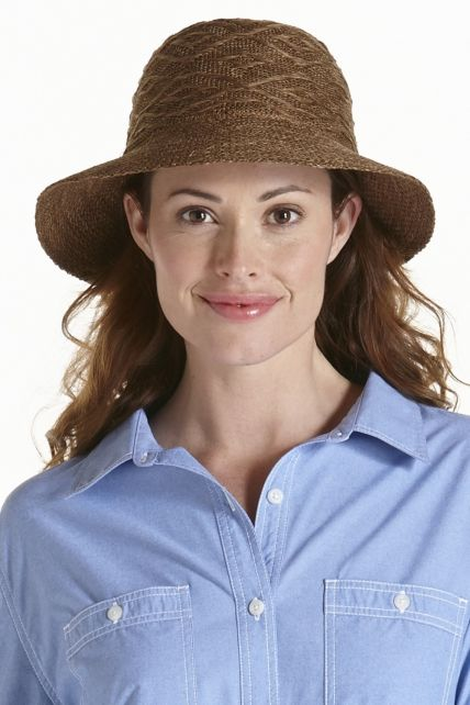 Coolibar---kreukvrije-UV-hoed-dames---Bruin