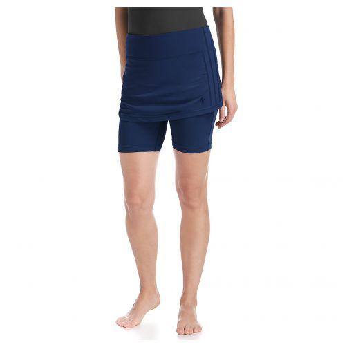 Coolibar---UV-zwemshort-voor-dames-met-rokje---Navy-blauw