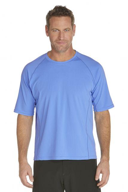 Coolibar---UV-zwemshirt-korte-mouwen-heren---licht-blauw