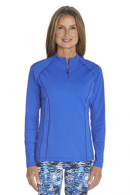 Coolibar---UV-zwemshirt-lange-mouwen-dames---Kobalt-blauw