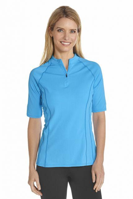 Coolibar---UV-zwemshirt-korte-mouwen-dames---Azure-blauw