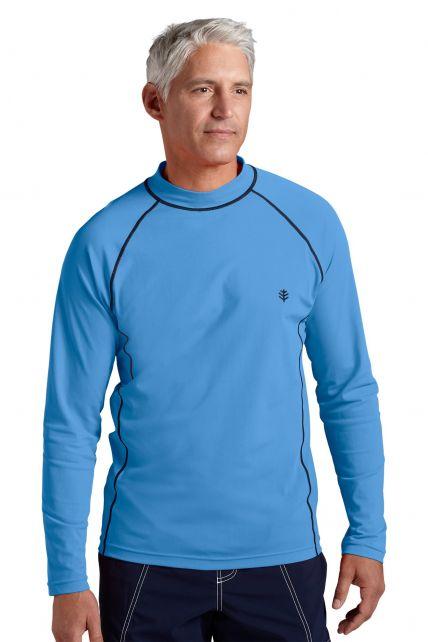 Coolibar---UV-Zwemshirt-voor-heren---Longsleeve---Tulum-Rash---Surf-Blauw