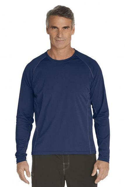 Coolibar---UV-zwemshirt-lange-mouwen-heren---donkerblauw