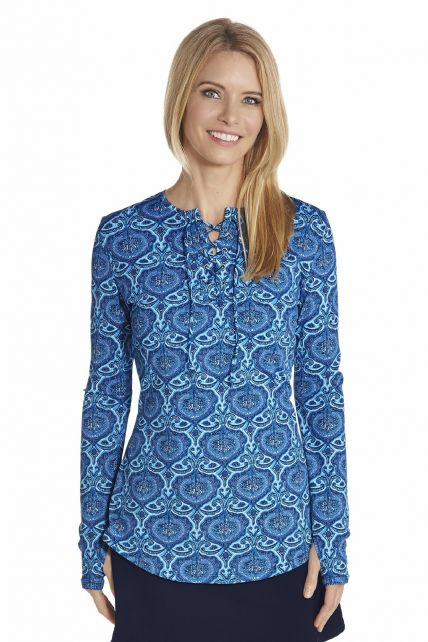 Coolibar---UV-shirt-met-rijgkoordje---Blauw-print
