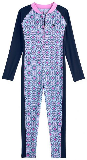 Coolibar---UV-zwempakje-voor-meisjes---Lange-mouwen---Spaans-mosaïc