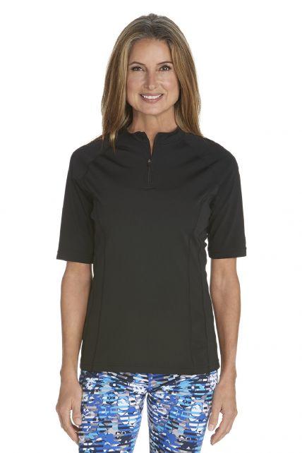 Coolibar---UV-Zwemshirt-voor-dames---Freestyle-Rash-Guard---Zwart
