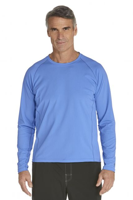 Coolibar---UV-zwemshirt-lange-mouwen-heren---licht-blauw