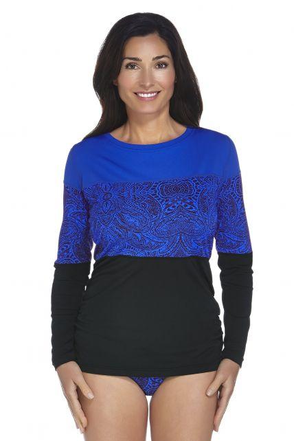 Coolibar---Dames-zwemshirt---Blauw-bloemenprint