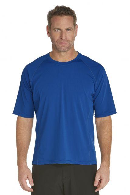 Coolibar---UV-zwemshirt-korte-mouwen-heren---blauw