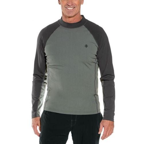 Coolibar---UV-zwemshirt-lange-mouwen-heren---Charcoal/Pomice-Grijs