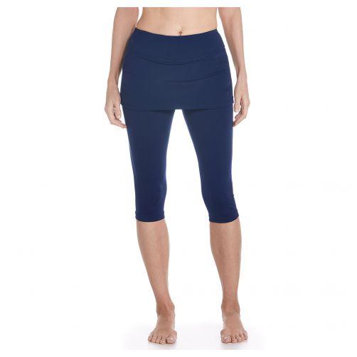 Coolibar---UV-zwemlegging-voor-dames-met-rokje---Navy-blauw