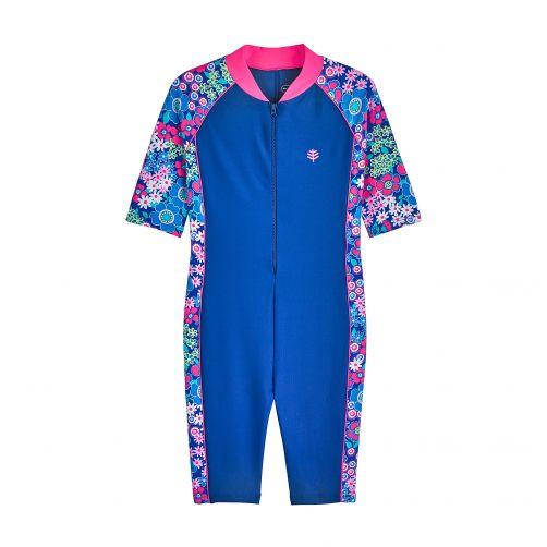Coolibar---UV-zwempakje-voor-kinderen---blauw-met-bloemen