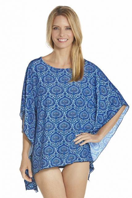 Coolibar---UV-strand-poncho-dames---Blauw