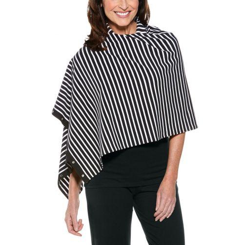 Coolibar---UV-omkeerbare-sjaal---zwart/wit-gestreept