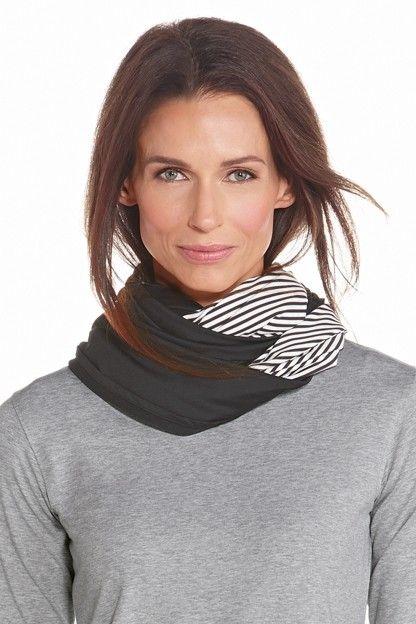 Coolibar---UV-beschermende-ronde-sjaal---Zwart-/-wit