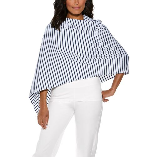 Coolibar---UV-sjaal-voor-dames---navy/wit-gestreept