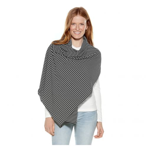 Coolibar---UV-sjaal-voor-dames---zwart/wit-gestreept