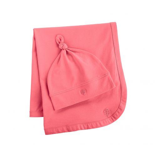 Coolibar---UV-mutsje-en-deken-voor-baby's---roze
