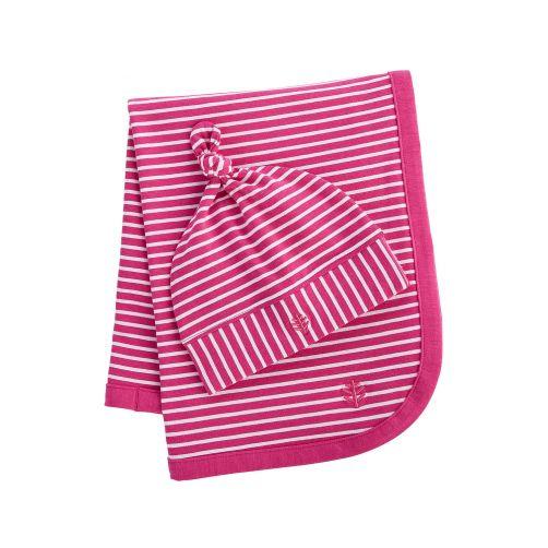 Coolibar---UV-mutsje-en-deken-voor-baby's---magenta-wit-gestreept