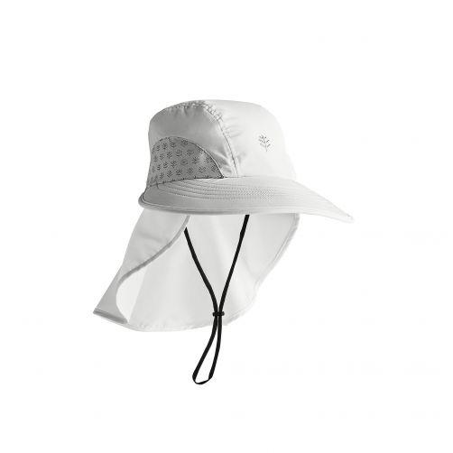 Coolibar---UV-werende-pet-met-nekbescherming-voor-kinderen---Explorer---Wit