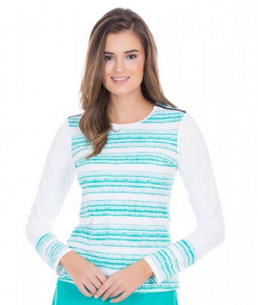 Cabana-Life---UV-zwemtop-met-rits-voor-dames---Turquoise/Wit