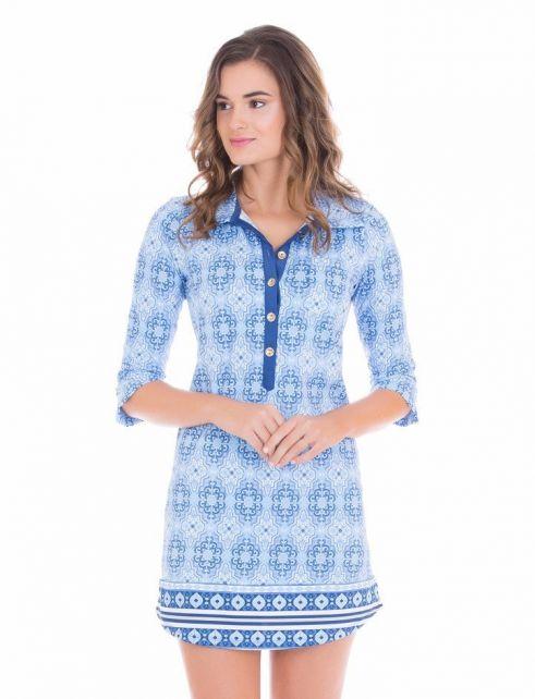 Cabana-Life---UV-Camper-jurk-voor-dames---Blauw/Wit