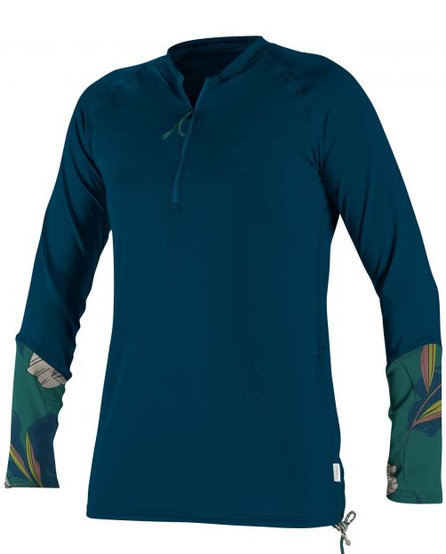 O'Neill---UV-shirt-voor-dames---Longsleeve---Front-Zip---Marineblauw