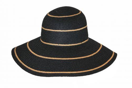 Rigon---Flaphoed-voor-dames---Lindeman---Zwart-met-kameelgele-strepen