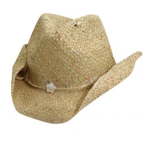 Dorfman-Pacific---Cowgirl-hoed-met-schelpen-voor-kinderen---Naturel