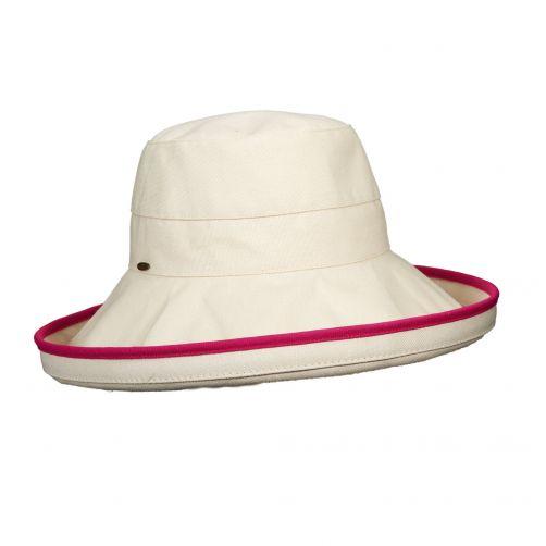 Scala---UV-katoenen-hoed-voor-dames---Gebroken-wit/Fuchsia
